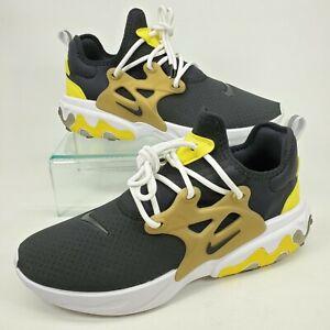 Nike React Presto Black Yellow Brutal Honey Men Running Size 10 Shoes AV2605-001