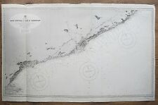 1892 SPAIN CAPE TORTOSA FO CAPE ST SEBASTIAN GENUINE VINTAGE ADMIRALTY CHART MAP