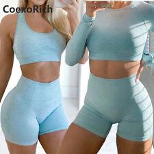 Mujeres Yoga Set 2 piezas vitales sin costuras deporte Traje Ropa De Gimnasia Fitness Crop Top