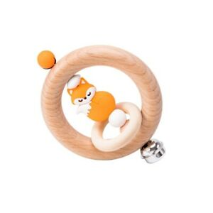 Wooden baby fox rattle silicone teether toy