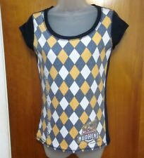 TOLEDO MUD HENS juniors small T shirt Muddy faux argyle tee baseball mascot Ohio