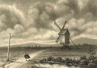 G.P., Clouds: Windmill in a Landscape – Original 1871 watercolour painting
