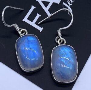 Designer 925 Sterling Silver Moonstone Gemstone Drop Dangle Earrings Jewellery
