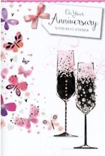 On Your Anniversary Card ~ Champagne Hearts~ By Simon Elvin~Free P&P