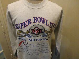 Vintage 1992 Nutmeg Gray SUPER BOWL 26 XXVI Redskins Bills 50-50 Sweatshirt Sz L