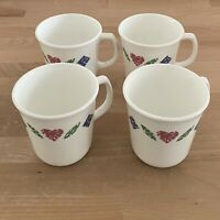 Corelle Corning Ware Quilt Patchwork Red Heart White Coffee Mug Tea Cup Set of 4