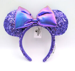 Bow Minnie Ears Purple Limited Party Shanghai Disney Resort New Sequins Headband