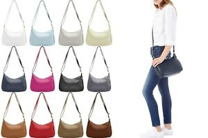 Handbag Bliss Italian Soft Leather Cross Body Shoulder Slouch Bag with Outer Zip