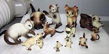 Vintage Fine Bone China Siamese Cat Figurines Lot of 12 Family Kittens Enesco