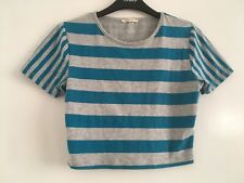 SOULCAL & CO Ladies Crop Top Size M Turquoise Grey Strip Short Tee Shirt