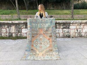 Oushak Turkish 3x5, handknotted, small kitchen, bathroom runner vintage wool rug