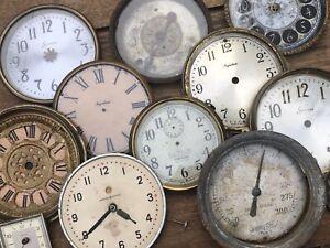 ( 12 ) Group Lot of Antique & Vintage Clock Faces / Dials