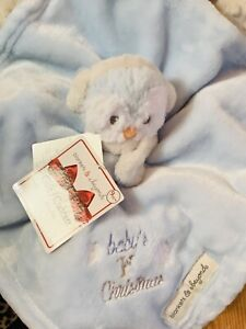 BLANKET BEYOND SECURITY BLUE BABY'S 1st CHRISTMAS OWL EAR MUFFS NECK SCARF SNOW