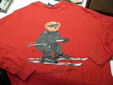 VTG POLO RALPH LAUREN Ski BEAR Red T-SHIRT Long Sleeve Medium Tee Shirt Cotton