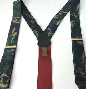 Mens Trafalgar Silk Suspenders Braces Baroque Topless Women Green Blue Gold Rare