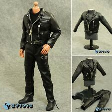 "ZYTOYS 1/6 Scale Black Leather Jacket Coat Jeans Clothes Set F 12"" Figure Body"