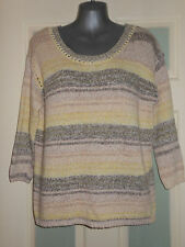 Monsoon Cotton Striped 3/4 Sleeve Women's Jumpers & Cardigans
