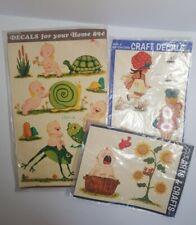 Vtg Meyercord Decal Stickers Baby Bird Nursery Child Turtle Snail Frog Bathroom
