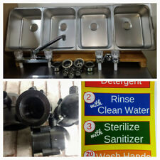 4 Large Compartment Concession Sinks 4 Drain Traps