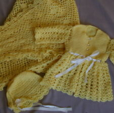 Vintage Baby Handmade Crochet Wear Sweater Hat Bonnet Blanket 1970's Yellow Doll