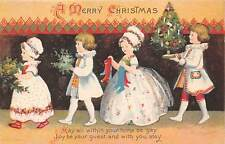 Signed Clapsaddle c. 1910, Children Getting Ready for Christmas, Series #505
