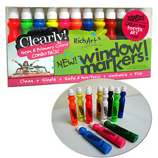 Rich Art Window Markers Set 12 Temporary Paint Colored Car Mirrors Glass Surface