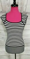 Cache Sleeveless Sweater Pullover Size L Womens Black White Striped Stretch
