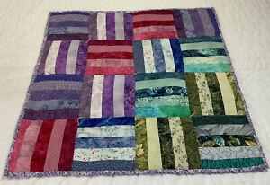 Patchwork Quilt Table Topper, Rectangle Logs, Floral Prints, Pink, Blue, Violet