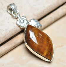 "Handmade Golden Tiger's Eye Gemstone 925 Sterling Silver Pendant 2.75"" #P00045"