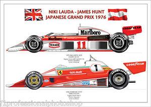 Lauda - Hunt ltd.ed.signed art print signed/numbered by artist-1976 Japanese GP