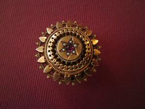 Antique Victorian Seed Pearl Garnet Heart Mourning Brooch Pinchbeck Gold Plated