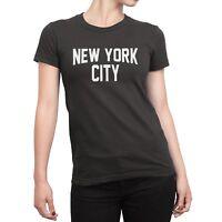Ladies New York City T-Shirt Charcoal White NYC Tee Womens NYC Fashion Shirt