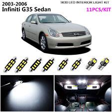 11Pcs Cool White 6K Interior Light Kit 5630 LED For 2003-2006 Infiniti G35 Sedan