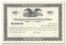 First National Bank of Elko Stock Certificate (Nevada)