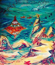 Jules Vernes 20.000 miles under the sea Felsen 80 x 70 cm 1977 Felix Pfefferkorn