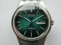 Seiko 1970' Vintage Men's Watch Emblem Automatic 2409 Green Gladiation Dial