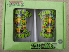 TMNT TEENAGE MUTANT NINJA TURTLES PINT GLASS SET OF 2 16 OUNCE PUB NEW NIB GREEN