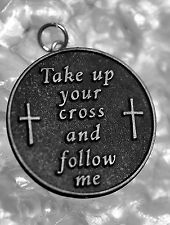 LOOK Authentic Genuine Sterling silver Take up your cross and follow me Jesus ch