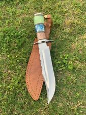 "13 "" CUSTOM HANDMADE D-2 TOOL steel Camel BoneFULL TANG HUNTING BOWIE WITH Sheet"
