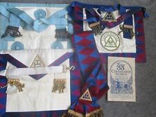 Collection of Vintage Masonic Items 3 Aprons, 1 Sash & 1 Antique Song Music Book