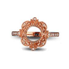 Round 6.5mm 14k Rose Gold Milgrain Natural Diamond Retro Semi Mount Ring Setting