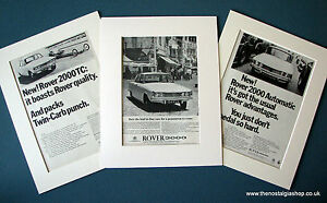 Rover 2000. Set of 3 Vintage Original Adverts, 1965, 1966, in Mounts.