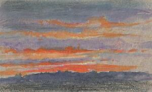 IMPRESSIONIST SUNSET LANDSCAPE Watercolour Painting MARCUS ADAMS 1956
