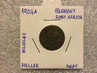 GERMAN EAST AFRICA 1 HELLER 1904 A  GERMAN COLONY COLLECTIBLE COIN KM#7