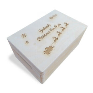 Wooden Engraved Personalised Christmas Eve Box, 30x20x13.5 cm, Unpainted (2)