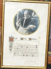 POPE Pius XI Apostolic Blessing Plenary Gelatin Photo Papal Seal Sign 1923 Irish