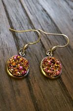 Stainless Steel Gold Plated Faux Druzy Hook Dangle Earrings Sparkly Purple Pink