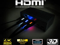 New Braided Ultra HD HDMI Cable v1.4 with LED Light High Speed HDTV 1080p 2K 3D