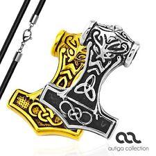 Anhänger Thors Hammer Wikinger Keltisch Edelstahl Halskette Lederkette