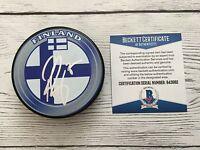 Pekka Rinne Signed Autographed Team Finland Hockey Puck Beckett BAS COA a
